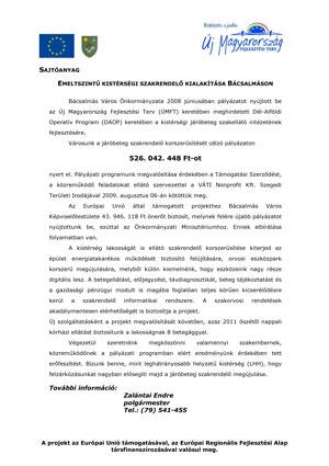 Projektindító sajtótájékoztatón kiadott sajtóanyag