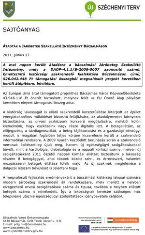 Átadó ünnepség sajtótájékoztatóján kiadott sajtóanyag